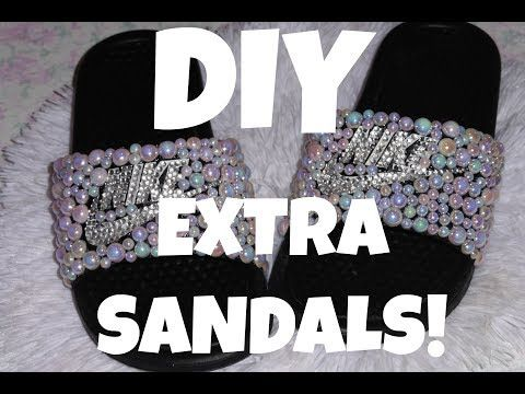 DIY BEDAZZLED NIKE SANDALS!!! YouTube | Nike sandals