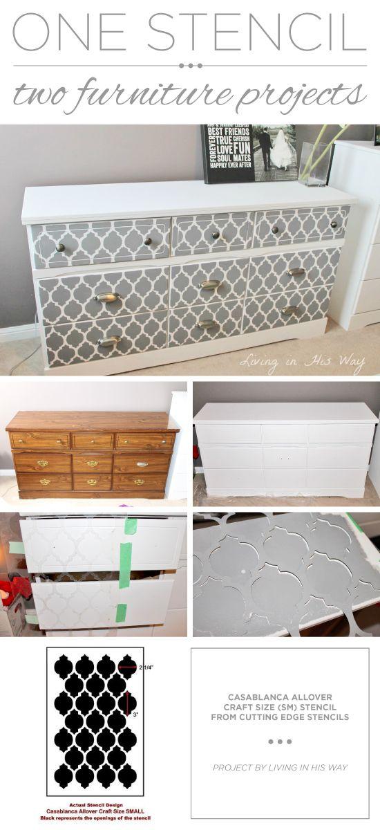 A DIY stenciled dresser using the Casablanca Craft Stencil from Cutting Edge Stencils. http://www.cuttingedgestencils.com/craft-furniture-stencil.html