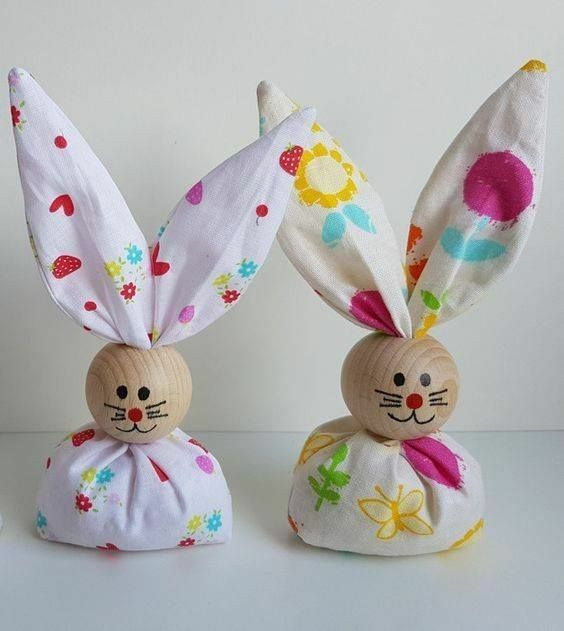 Fabric Wooden Bead Bunnies Easter Crafts Bunny Crafts Easter