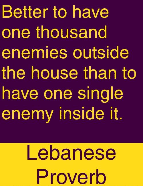 Better To Have One Thousand Enemies Outside The House Than To Have One Single Enemy Inside It Lebanese Proverb Proverbs Quotes Badass Quotes Wisdom Quotes