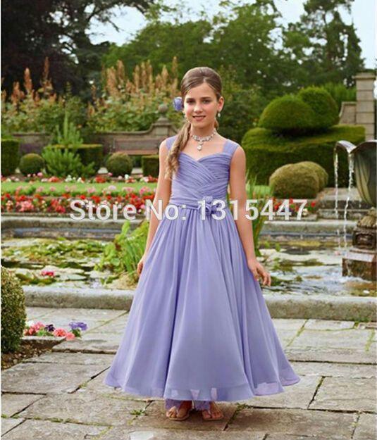 Cheap Puffy lila larga de la gasa de la cucharada viste para bodas con hechos a mano flores acanalada manga del casquillo Childs vestidos del banquete de boda, Compro Calidad Vestidos de Damita de Honor directamente de los surtidores de China: