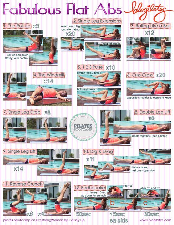 Fabulous Flat Abs by Blogilates. Pilates printable workout.