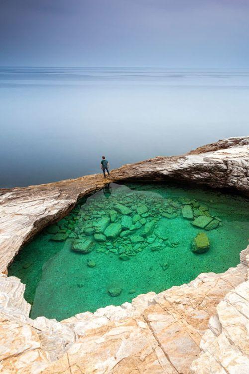 Green Hole, Thasos Island, Greece by Evgeni Dinev. http://www.mediteranique.com/hotels-greece/