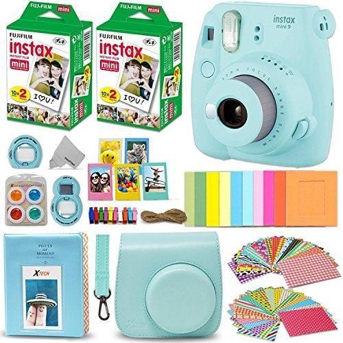 Fujifilm Instax Mini 9 Instant Camera w//Fujifilm Instax Mini 9 Instant Films + A14 Pc Deluxe Bundle for Fujifilm Instax Mini 9 Camera 20 Pack cobalt blue