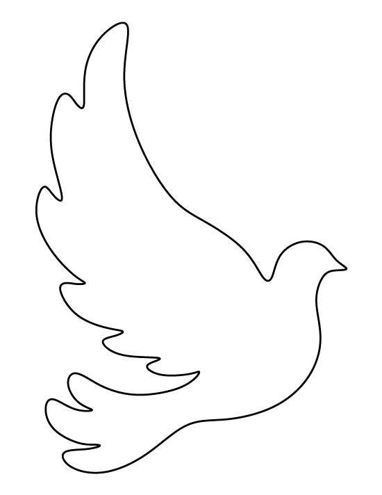 Dove pattern. Use the printable outline for crafts, creating stencils ...