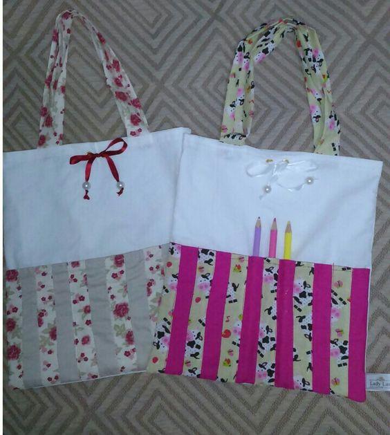 Bolsa infantil com porta lapis de cor