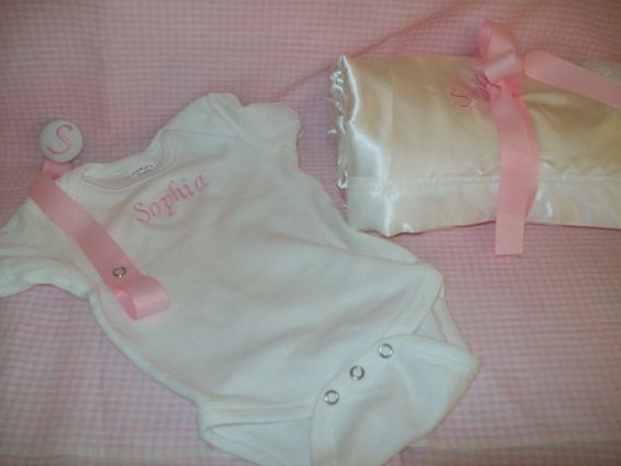 BABY KEEPSAKE SET blanket pacifeir clip and by Whimsicalmonica, $45.99