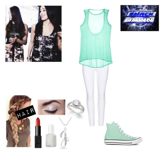 Talking With The Bellas Backstage At Smackdown by caton-486 on Polyvore featuring Victoria's Secret, Frame Denim, Converse, Bling Jewelry, NARS Cosmetics and Essie