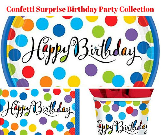 Confetti Surprise Birthday Party Banner