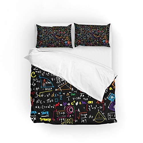 My Daily Funny Math Doodle Colorful Duvet Cover Set Polyester Quilt Bedding Set Full Double Colorful Duvet Covers Quilt Sets Bedding Full Bedding Sets