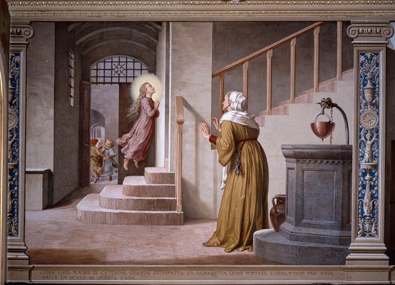 escenas de la vida de Santa Catalina de Siena en los frescos de Alessandro Franchi y Gaetano Marinelli Oratorio de la Casa de la Ermita en Siena: La madre Monna Lapa Licata, ve a su hija subir escaleras suspendida en el aire