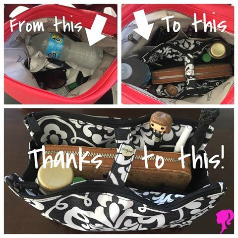 The Swap It Pocket creates a space for everything in your purse! www.MommaNeedsaNewBag.com