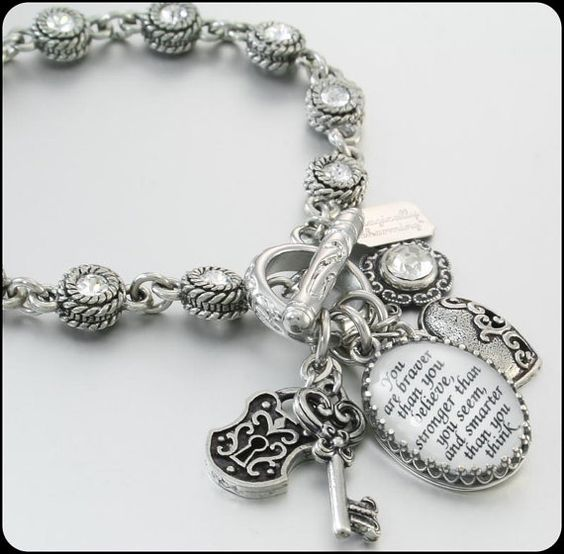 Personalized Charm Bracelet, Personalized Jewelry, Custom Charm Bracelet, Crystal Charm Bracelet, Custom Quote Bracelet on Etsy, $76.00