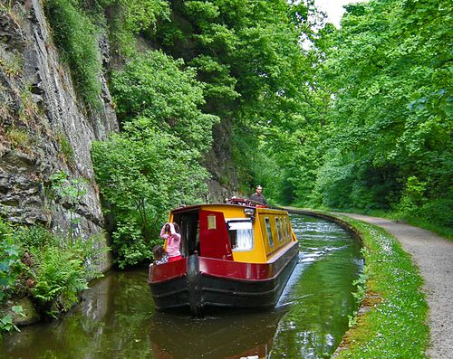 llangollen canal- the narrows - Wales . I would love to take a narrowboat holiday.