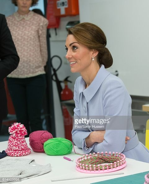 Catherine Duchess of Cambridge visits Bouwkeet the social Makerspace of BospolderTussendijken on October 11 2016 in The Hague Netherlands: