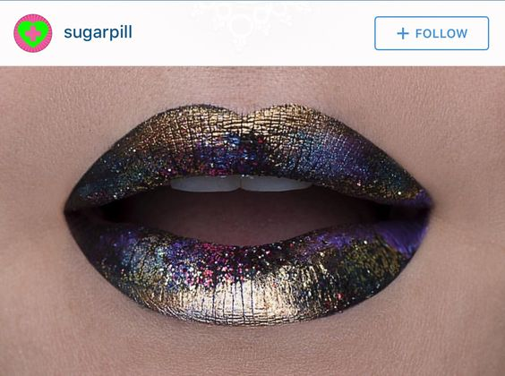 Amazing galaxy & gold lip color art