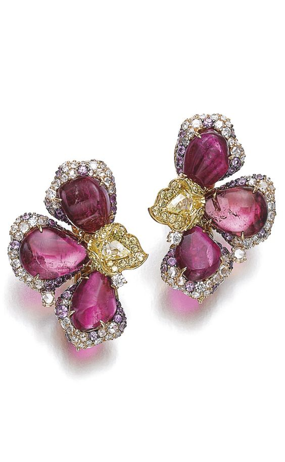 Pair of gem set and diamond ear clips, Michele della Valle....x