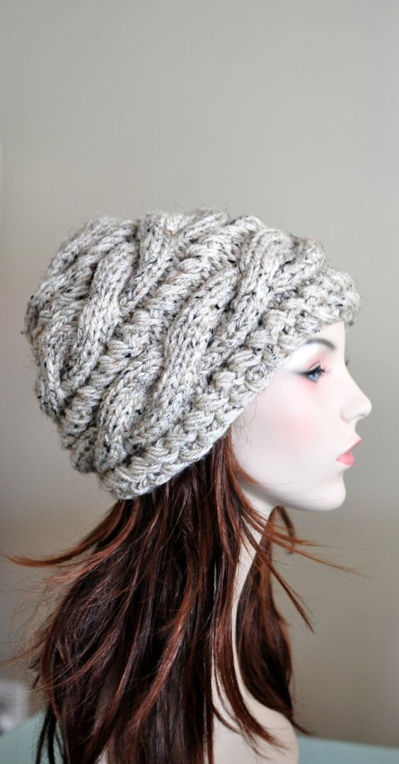 Women Hat Slouchy Hat Slouch Beanie Cable Hand Knit Winter ...