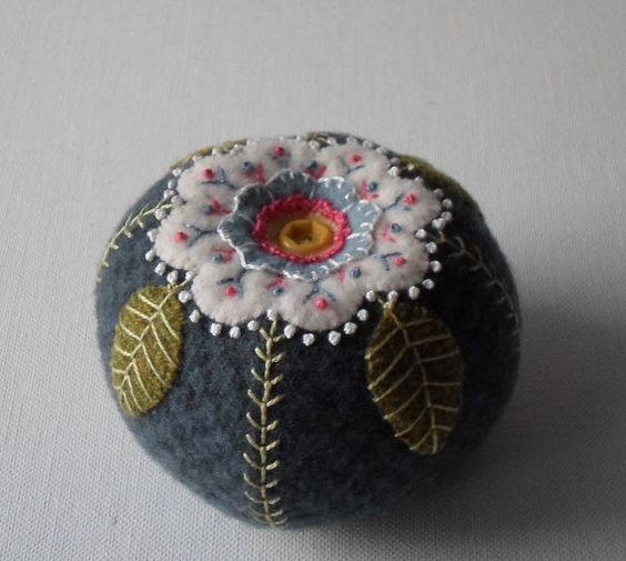Handmade Wool Dusty Blue Blossom Pin Cushion by QuiltShenanigans: