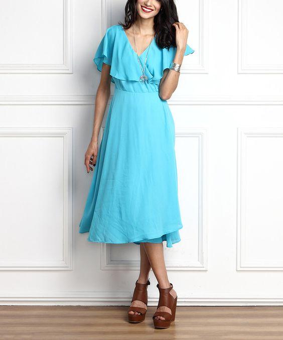 Blue Chiffon Surplice Tie-Back Maxi Dress by Reborn Collection #zulily #zulilyfinds