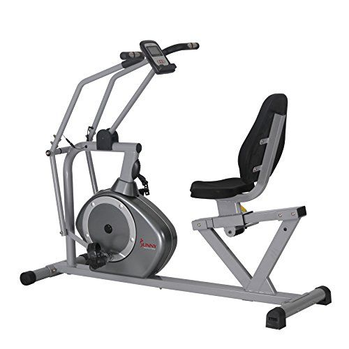 Sunny Health Fitness Magnetic Recumbent Bike Exercise Bike 350lb High Weight Capacity Cross Training Arm Exercisers Monitor Pulse Rate Monitoring Sf Rb4708 Recumbent Bike Workout Cross Trainer Bike No