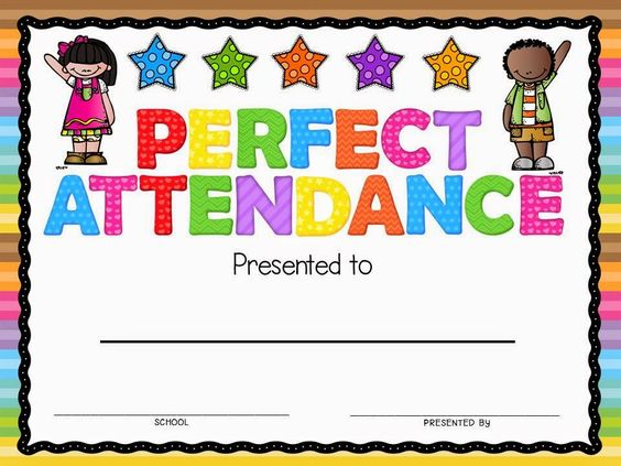 Full-color Perfect Attendance Certificate Andersonu0027s cert - free perfect attendance certificate template