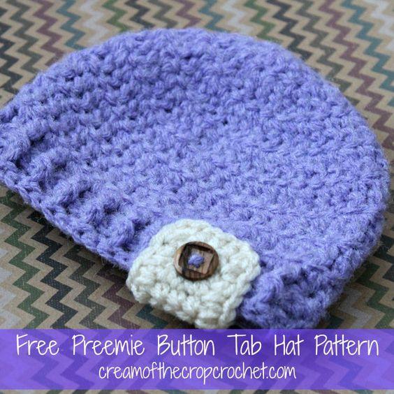 Free Crochet Preemie Beanie Pattern : Cream Of The Crop Crochet ~ Preemie Button Tab Hat {Free ...