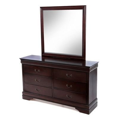 Louis Philippe 6 Drawer Dresser and Mirror - http://delanico.com/dressers/louis-philippe-6-drawer-dresser-and-mirror-525987977/
