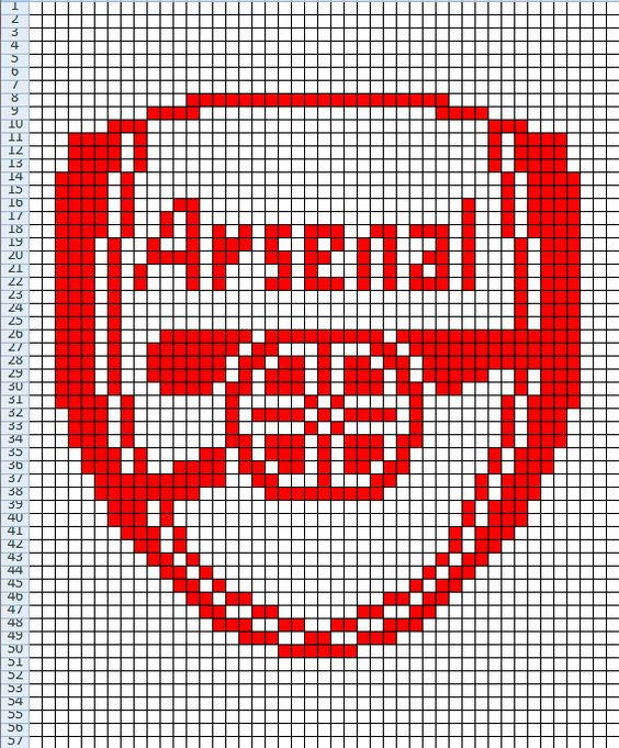 Arsenal FC. Chart for knitting, cross stitch etc. Arsenal Pinterest Kni...