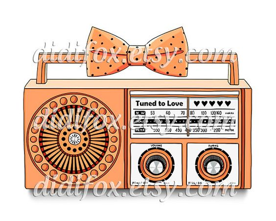 Sweet Retro Radio with polka dot bow - Printable Digital Illustration for Transfer Print - Clipart ( 8x10), for DOWNLOAD. Item No.T0083