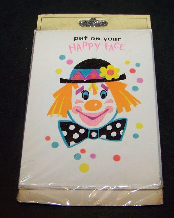 Vintage Clown Birthday Party Invitations Put on Your Happy Face 8 – Clown Birthday Party Invitations