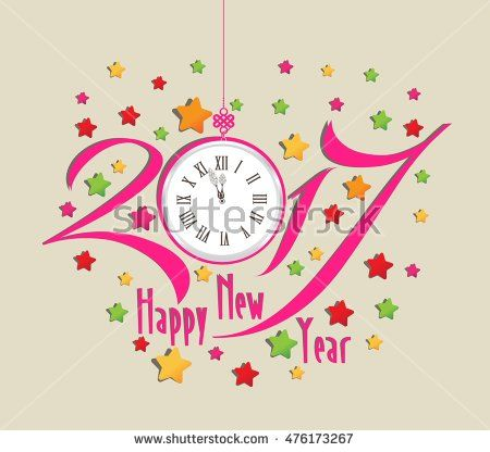 Happy new year 2017 clock and colorful: