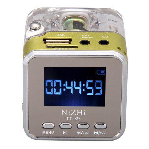 Unterstützt micro SD/TF Karte, USB flash disk, FM radio, etc. LCD Display zur Anzeige der Uhrzeit digital und Strom. Unterstützt LINE IN Funktion, den Empfang Audioquelle von MP3, MP4, PC, Notebook…
