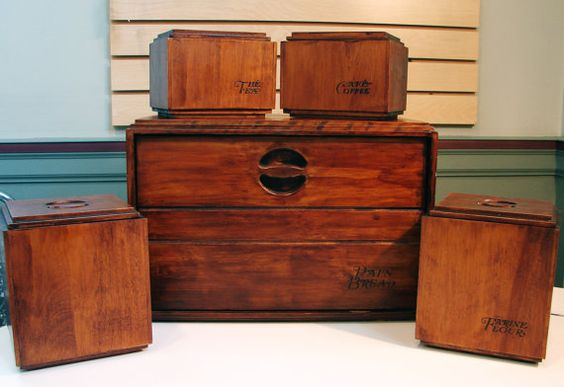 vintage 1970 s baribocraft maple wood bread box and 4