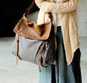 Schultertaschen - Schulter Leder Notebook Tasche Leinwand Handtasche - ein Designerstück von zhizhiluck bei DaWanda