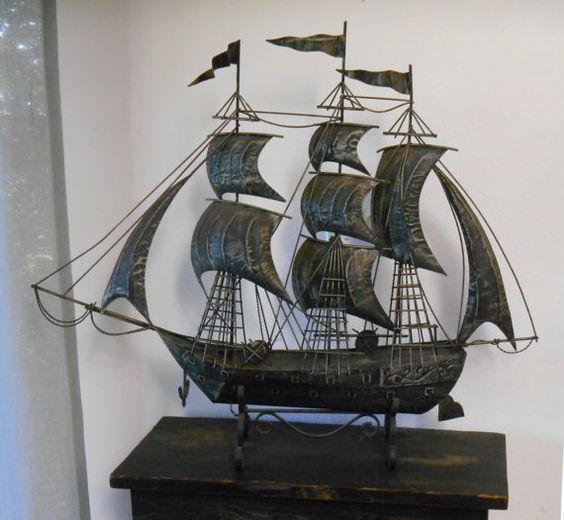 Large wrought metal spanish galleon metal ship sculpture vintage 1960s 70s mid century - Massieve decoratieve tuin ...