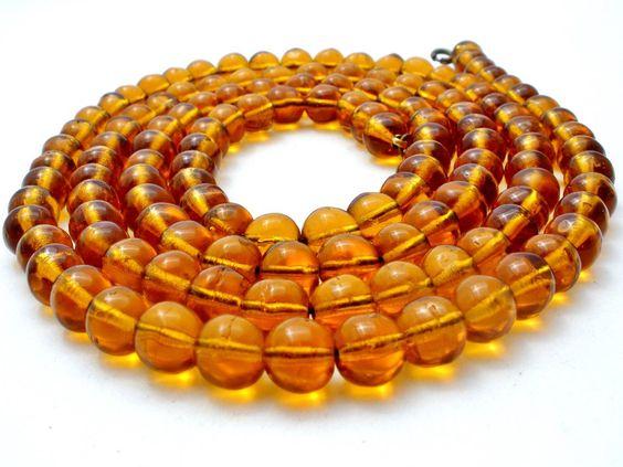 Art Deco Flapper Amber Glass Bead Necklace