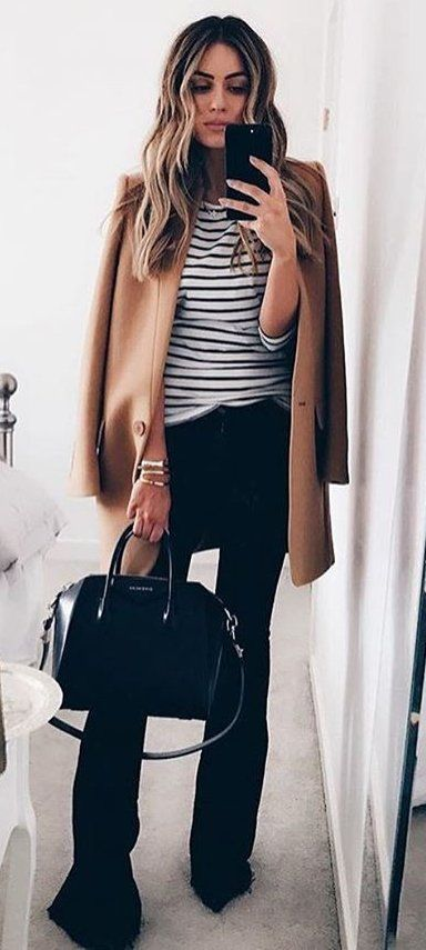 Camel Coat Striped Tee Source