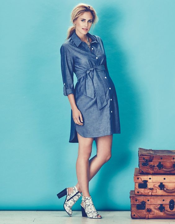Chambray Belted Maternity Shirt Dress  A button Stylish ...