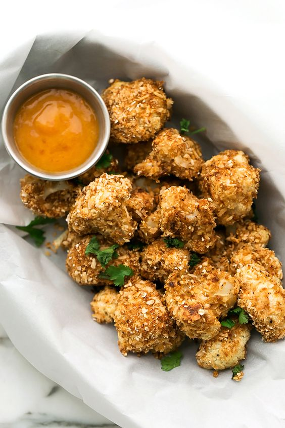 Crispy Coconut Cauliflower with Spicy Chili-Mango Sauce | Vegan, Gluten-Free: