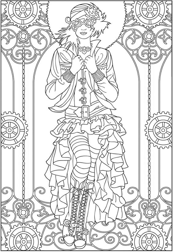 Adult Coloring Pages Creative Haven Steampunk Fashions Coloring Book Dover Publications