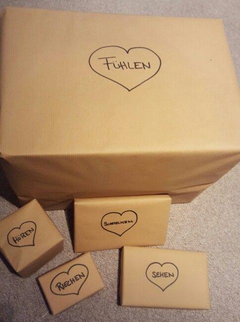 Geschenke Für Alle Sinne. Geschenkidee Für Den Ehemann Oder Freund. Inhalt  Z.B.: Buch, Schokolade, Parfum, Usw... ;) | Simone | Pinterest | Gift, ...