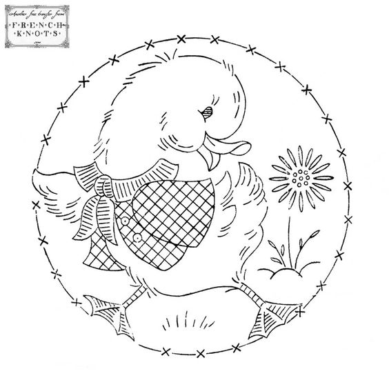 Free vintage duck embroidery transfer pattern