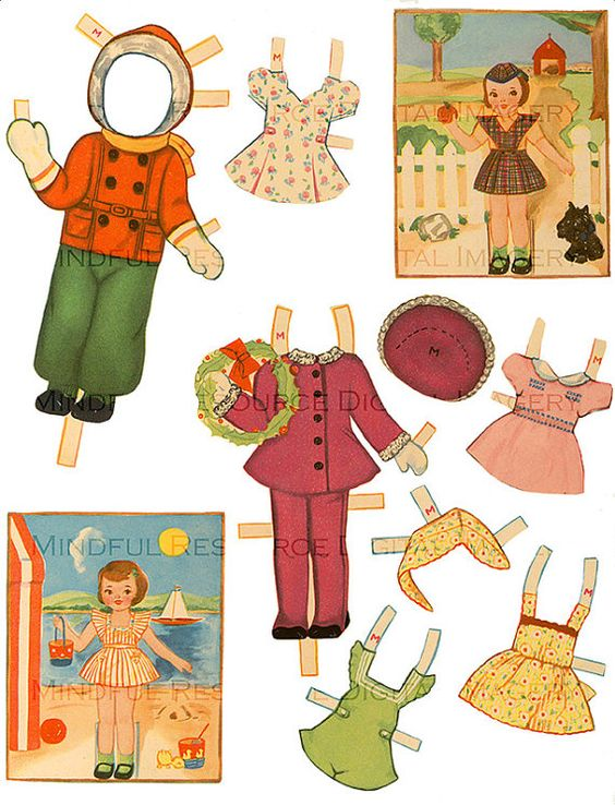 Retro Girl Paper Doll Printable Pinafores by mindfulresource