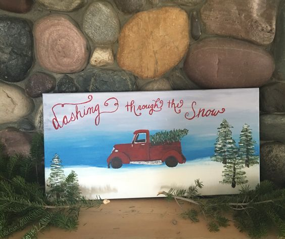 Dashing through the snow red truck canvas