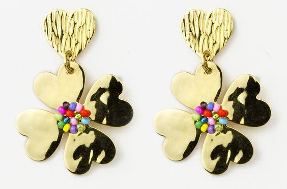 Accesorios De Baño Trebol: flor trebol, con baño de oro de 24K