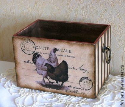 """Короб """"Postcard""""2 - куры,петухи,кантри,короб,открытка,винтаж,дерево:"""