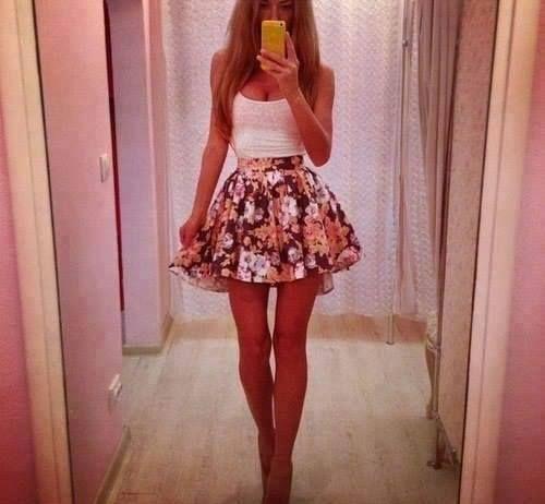 High Waisted Flowy Skirt