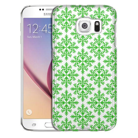 Samsung Galaxy S6 Victorian Seamless Green on White Slim Case