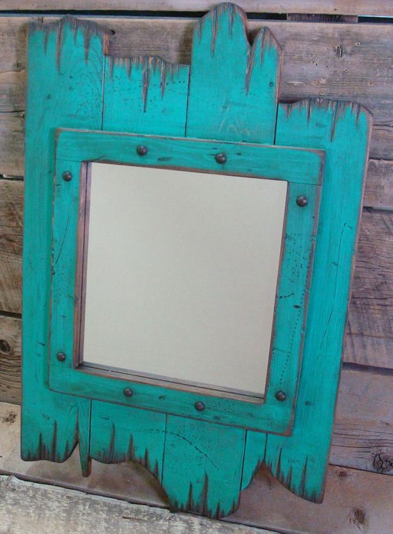 Turquoise Rustic Wood Distressed Barn Wood Mirror Great